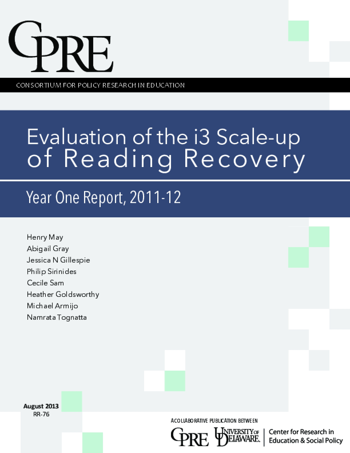 Evaluation of the i3 Scale-up of Reading Recovery | Year One Report, 2011-12