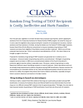 Random Drug Testing of TANF Recipients is Costly, Ineffective and Hurts Families