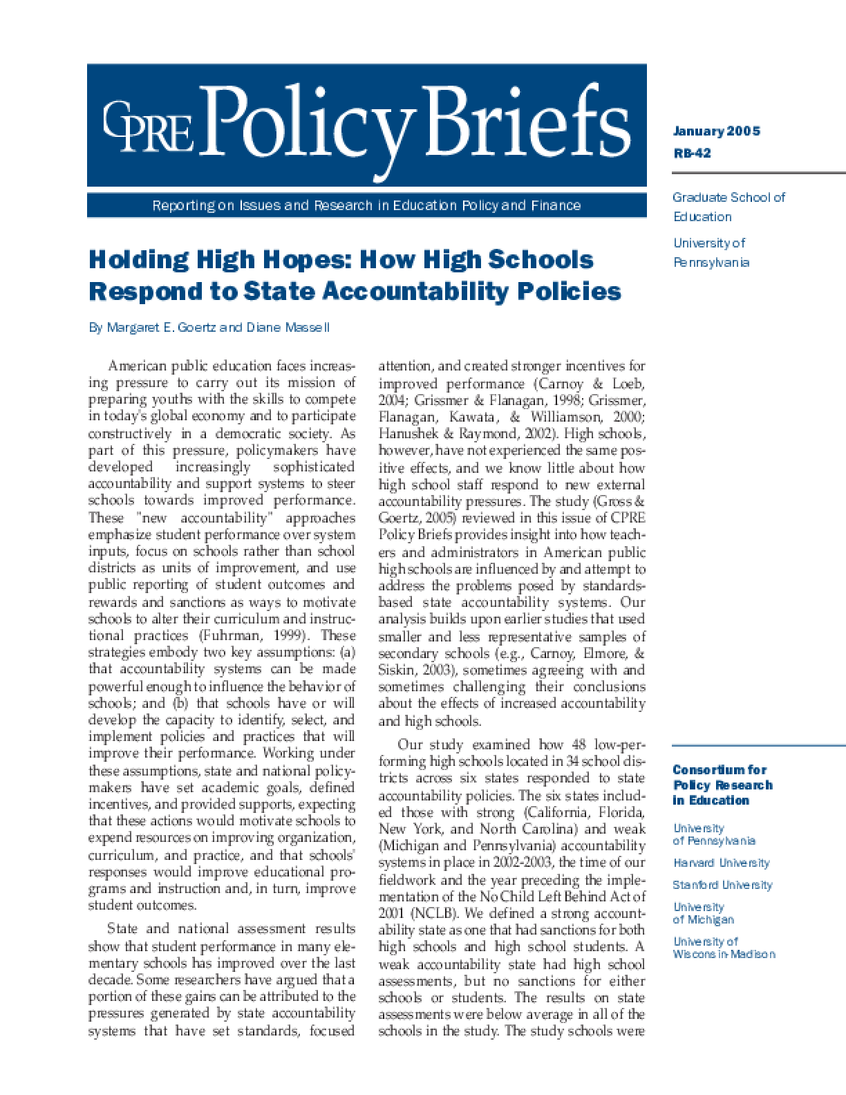 Holding High Hopes: How High Schools Respond to State Accountability Policies