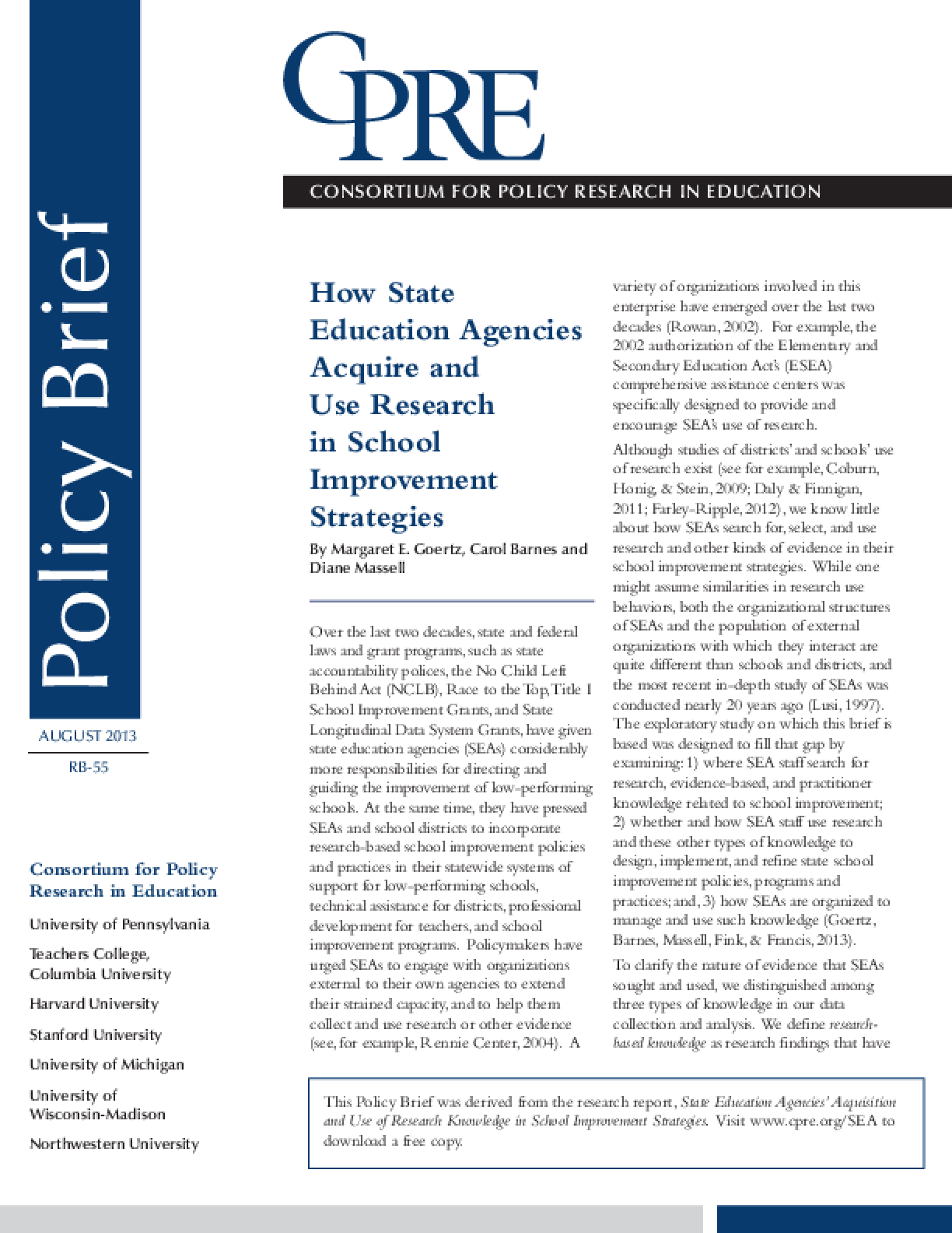 How State Education Agencies Acquire and Use Research in School Improvement Strategies, 2013