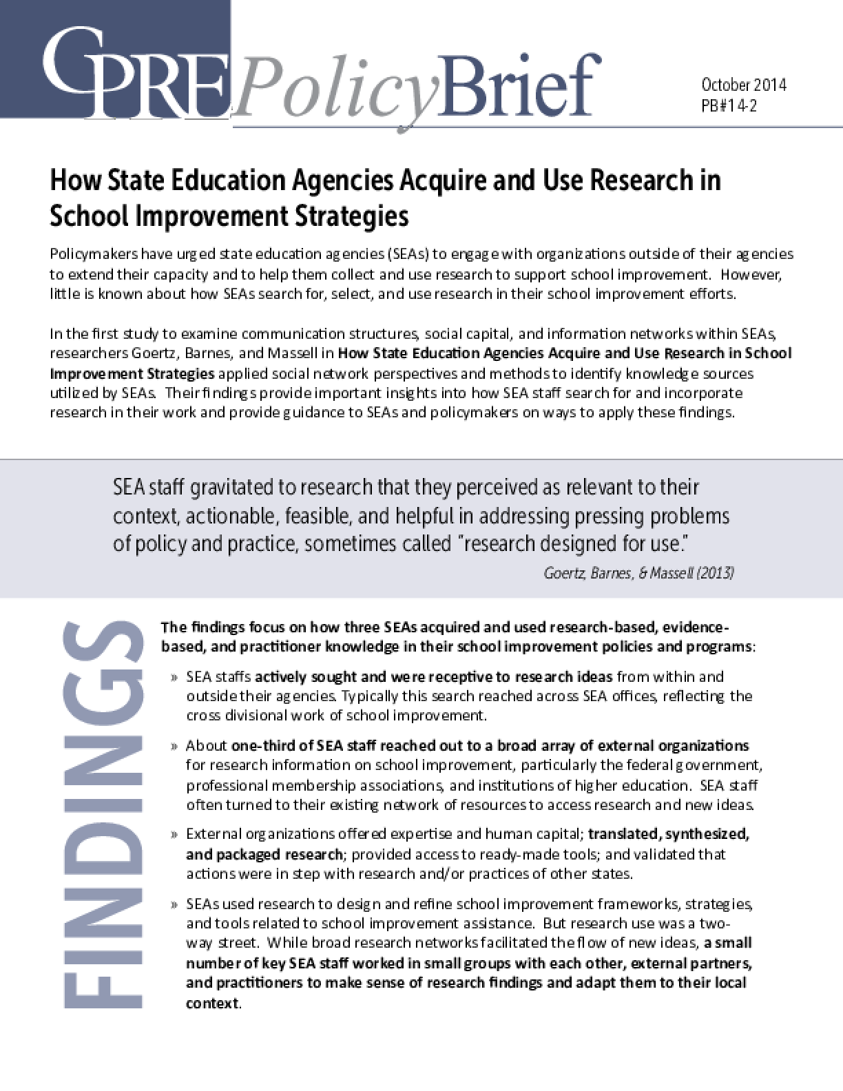 How State Education Agencies Acquire and Use Research in School Improvement Strategies, 2014