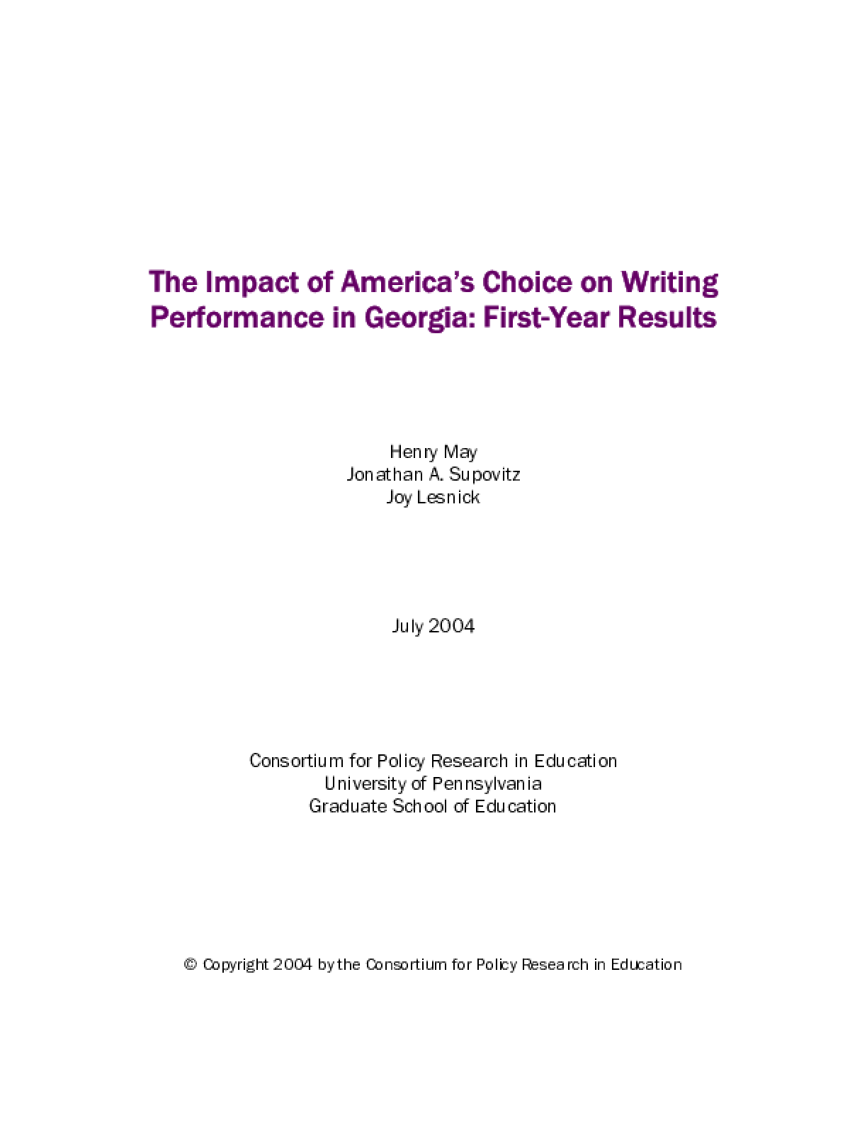 The Impact of America's Choice on Writing Performance in Georgia: First-Year Results
