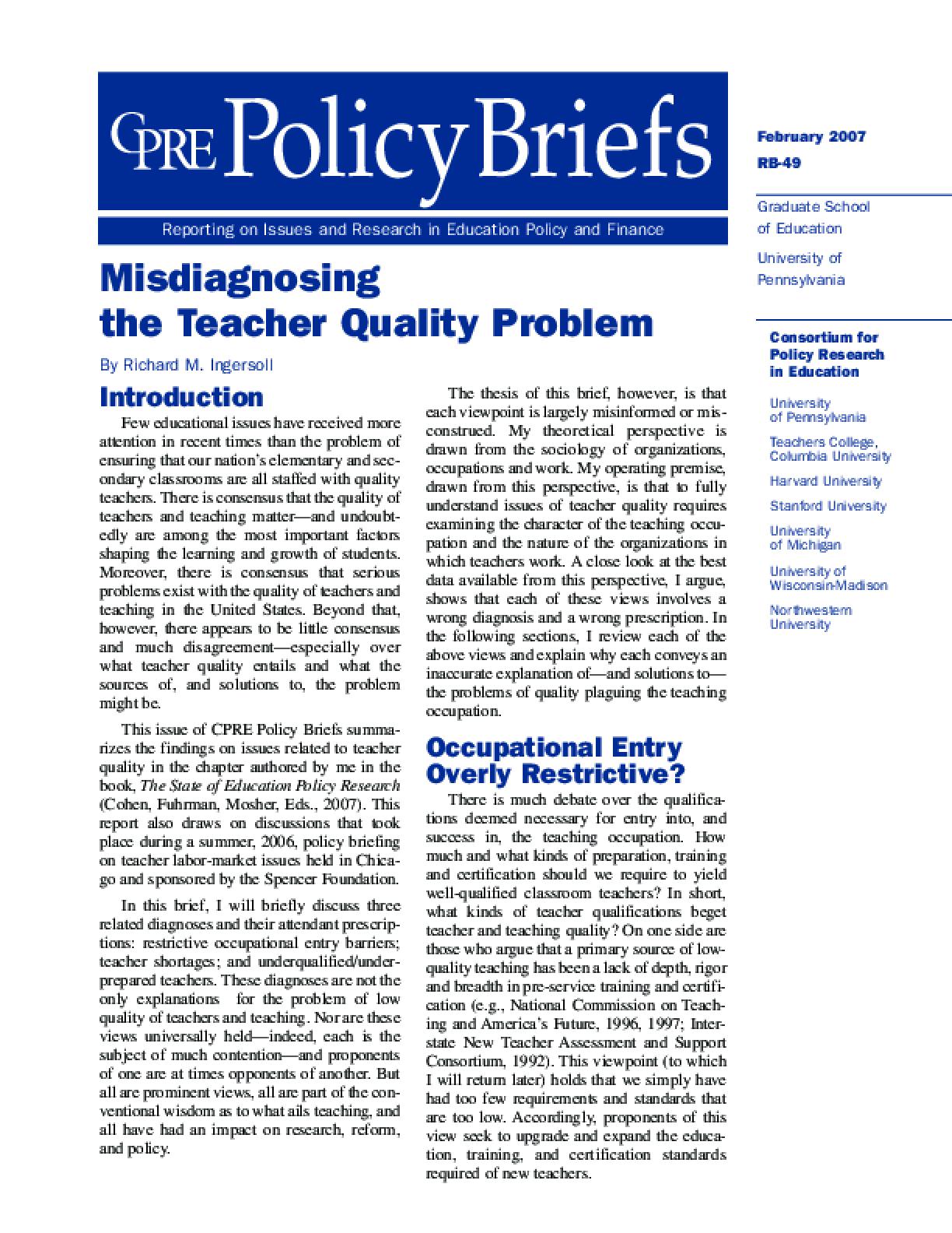 Misdiagnosing the Teacher Quality Problem
