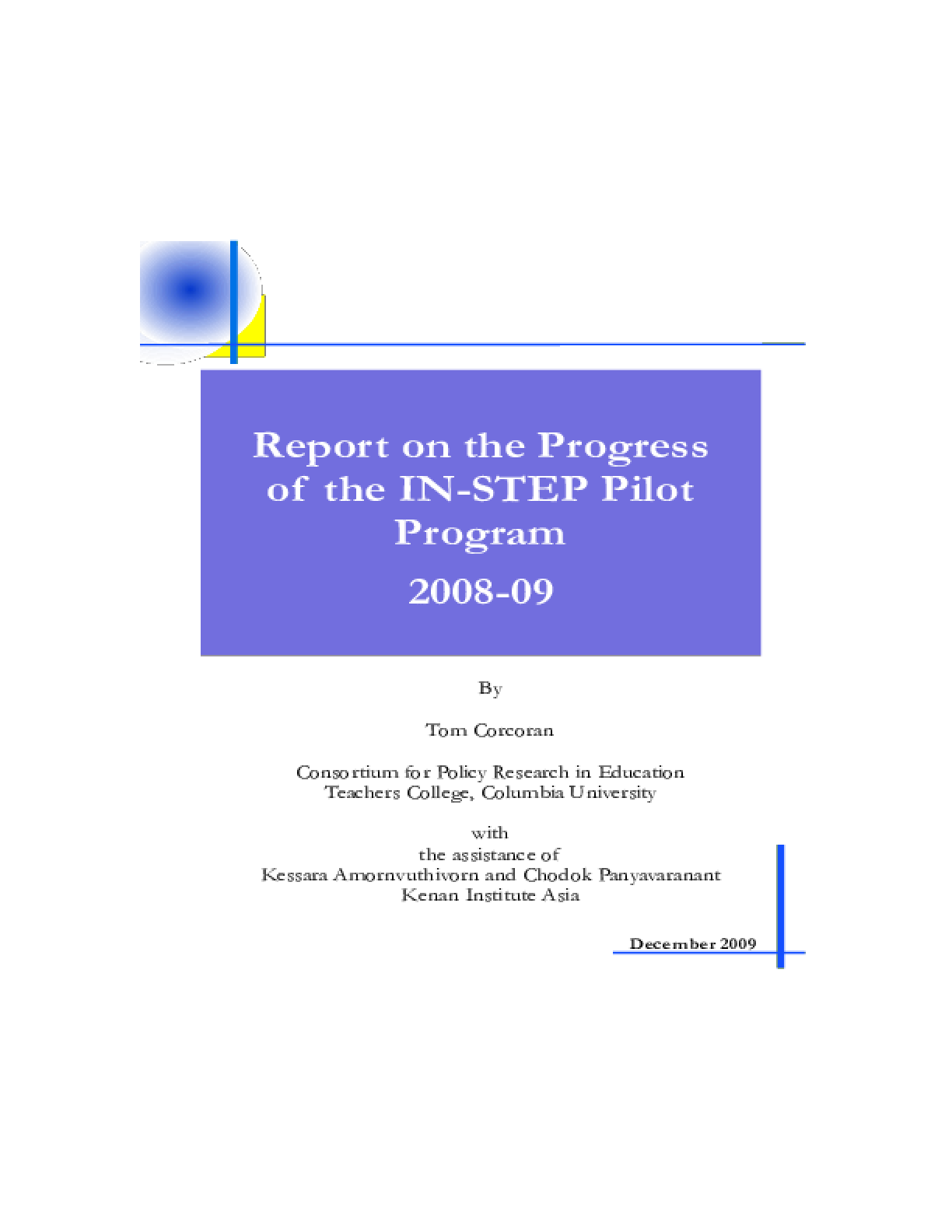 Report on the Progress of the IN-STEP Pilot Program, 2008-2009
