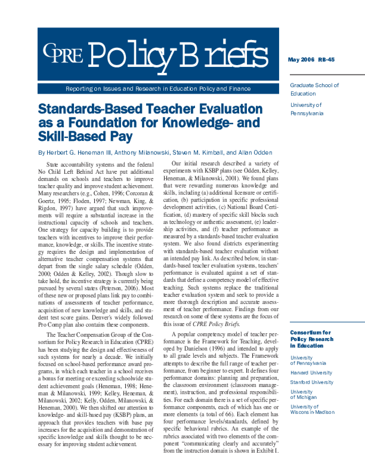 Standards-Based Teacher Evaluation as a Foundation for Knowledge- and Skill-Based Pay