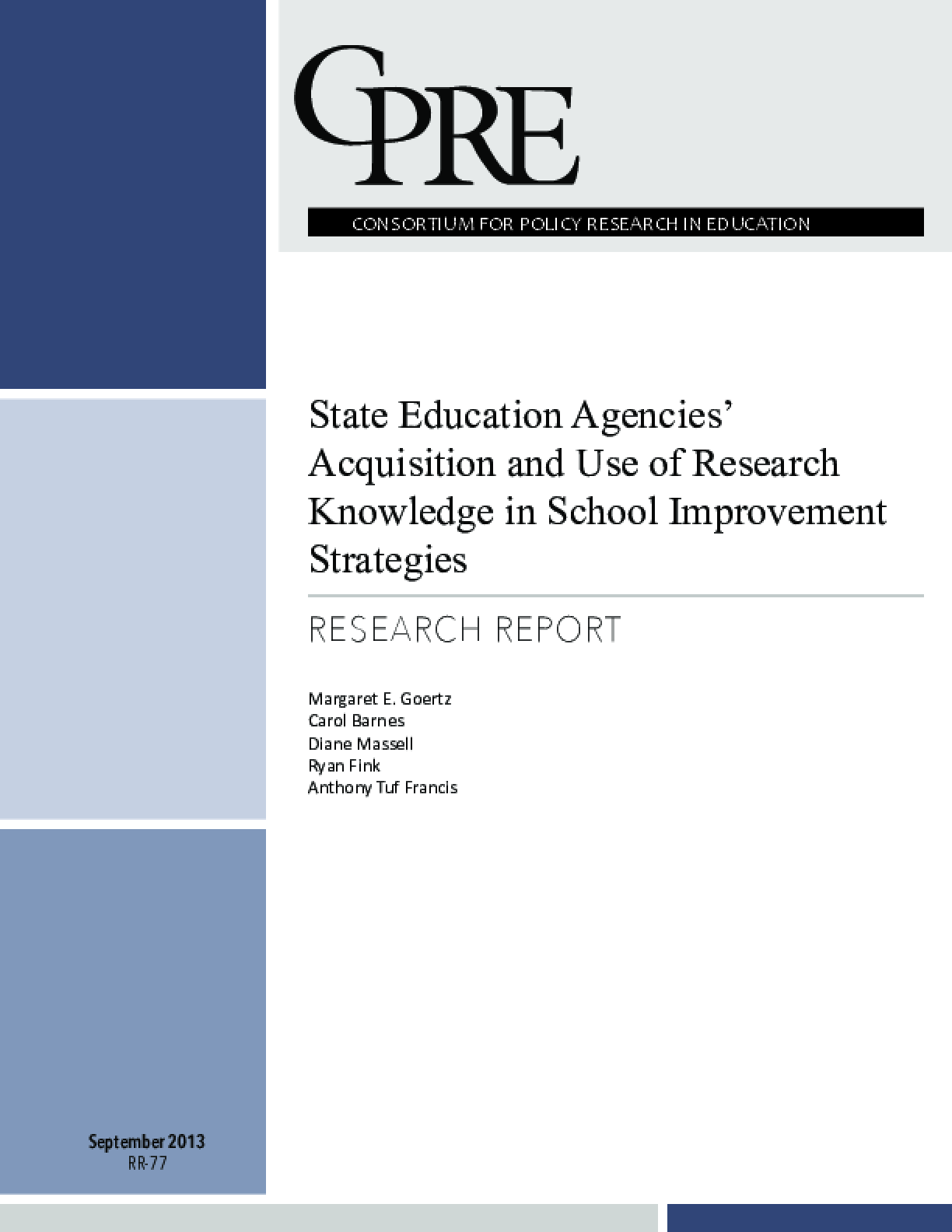 State Education Agencies' Acquisition and Use of Research Knowledge for School Improvement Strategies