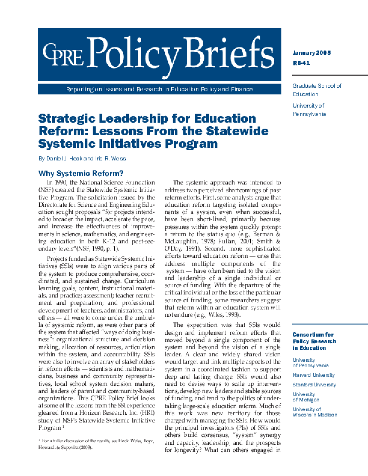 Strategic Leadership for Education Reform: Lessons From the Statewide Systemic Initiatives Program