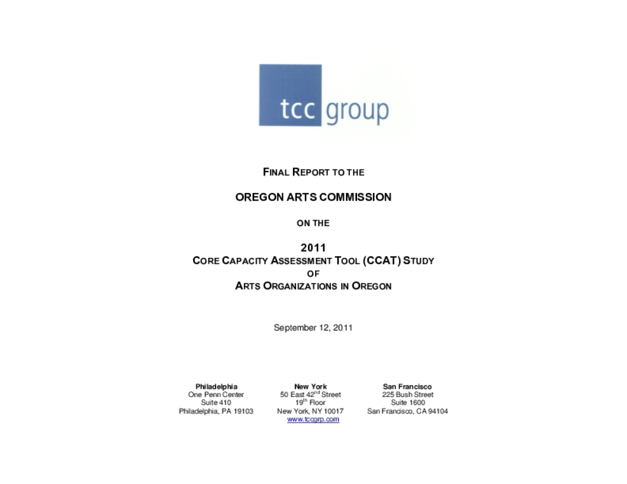 Final Report to Oregon Arts Commission on 2011 CCAT Study