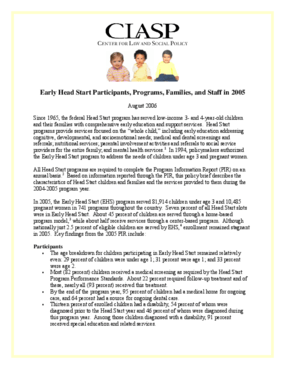 Early Head Start Participants, Programs, Families, and Staff in 2005