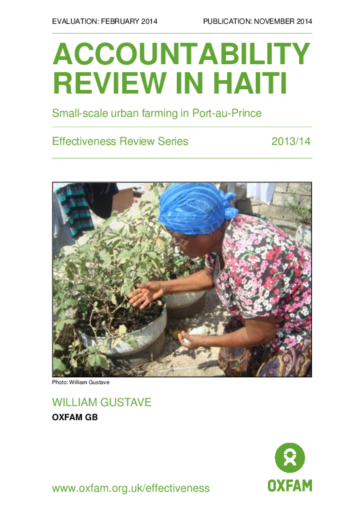 Accountability Review in Haiti: Small-scale urban farming in Port-au-Prince