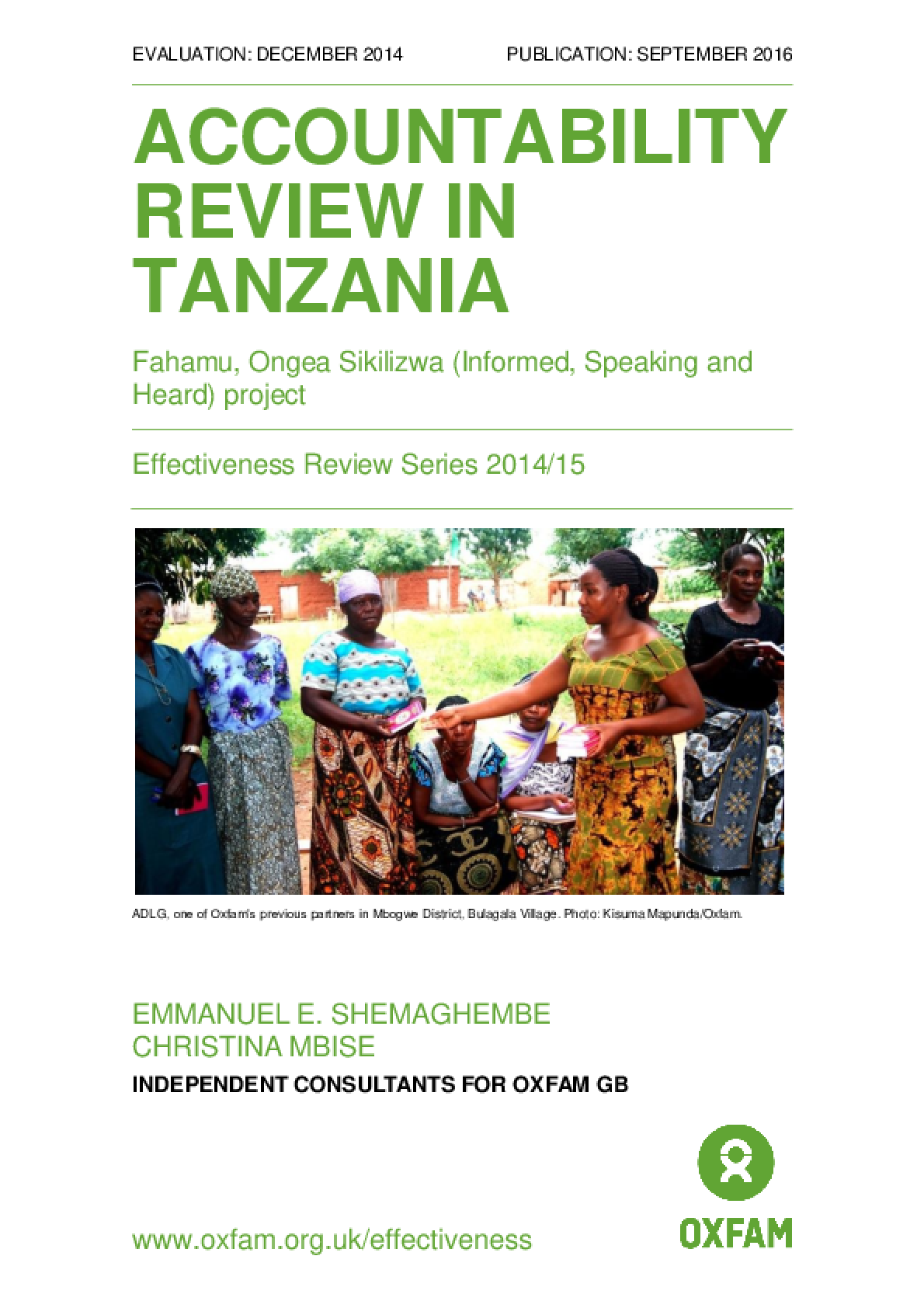 Accountability Review in Tanzania: Fahamu, Ongea Sikilizwa / Informed, Speaking and Heard project