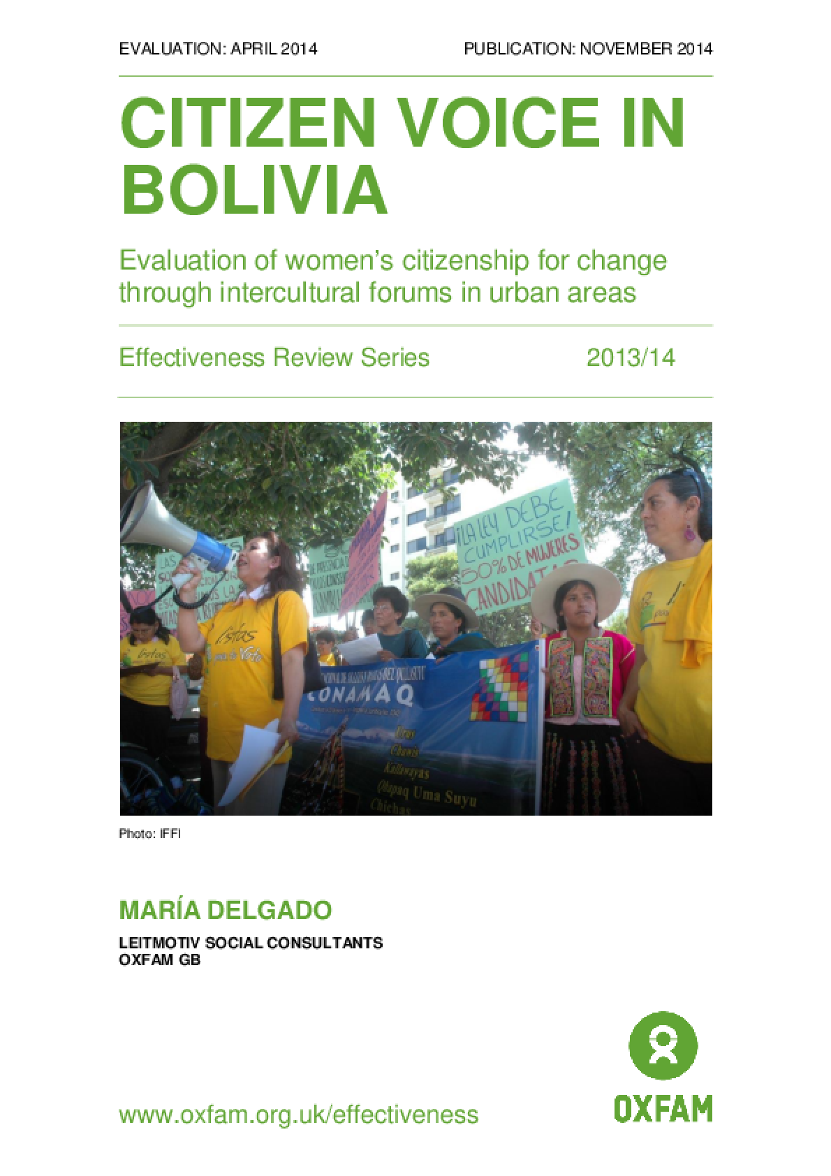 Citizen Voice in Bolivia: Evaluation of women's citizenship for change through intercultural forums in urban areas