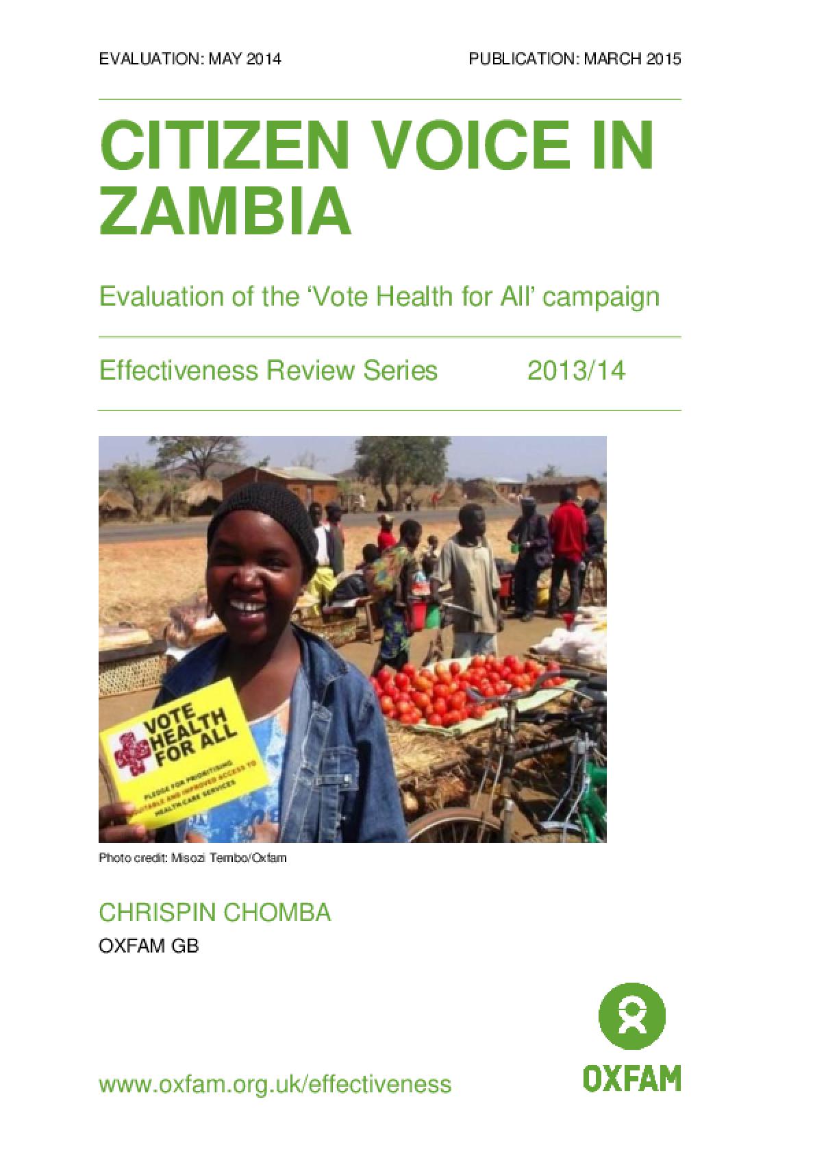Citizen Voice in Zambia: Evaluation of the 'Vote Health for All' campaign