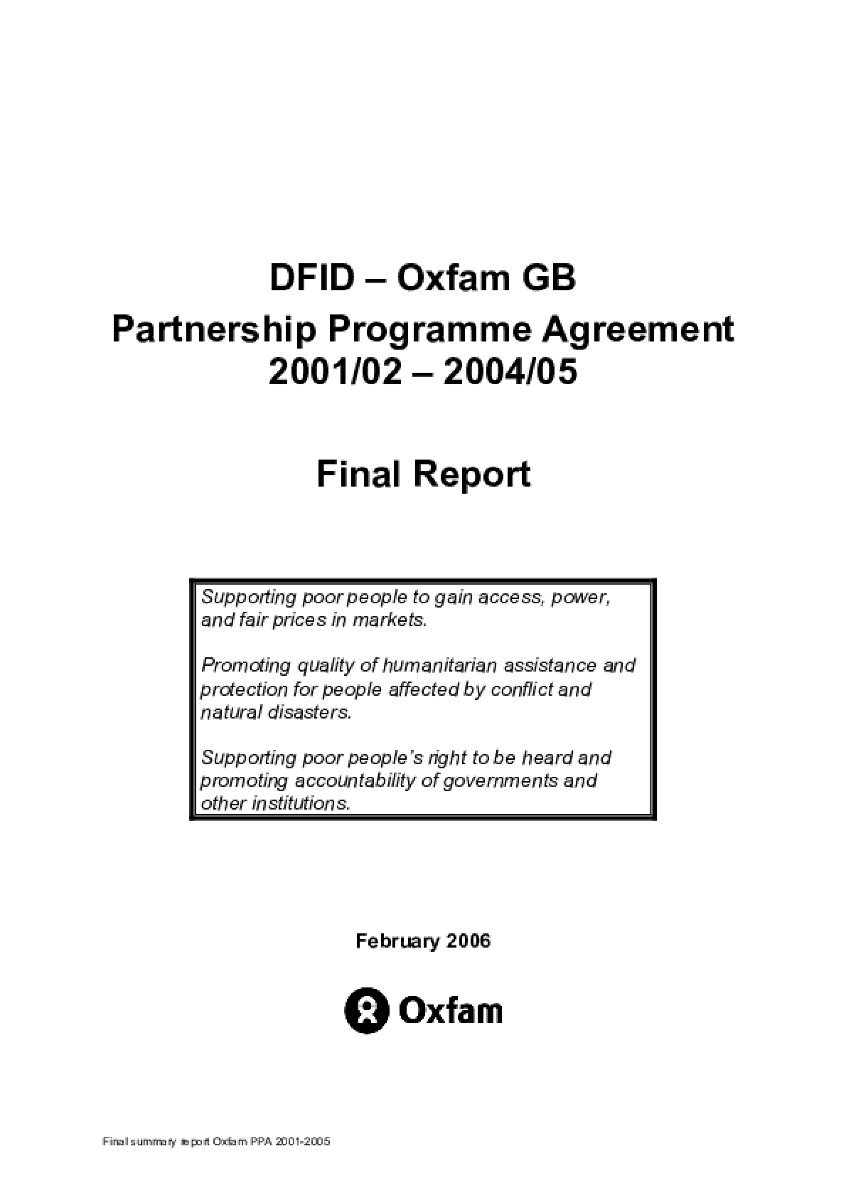 DFID and Oxfam GB Partnership Programme Agreement 2001/02 - 2004/05