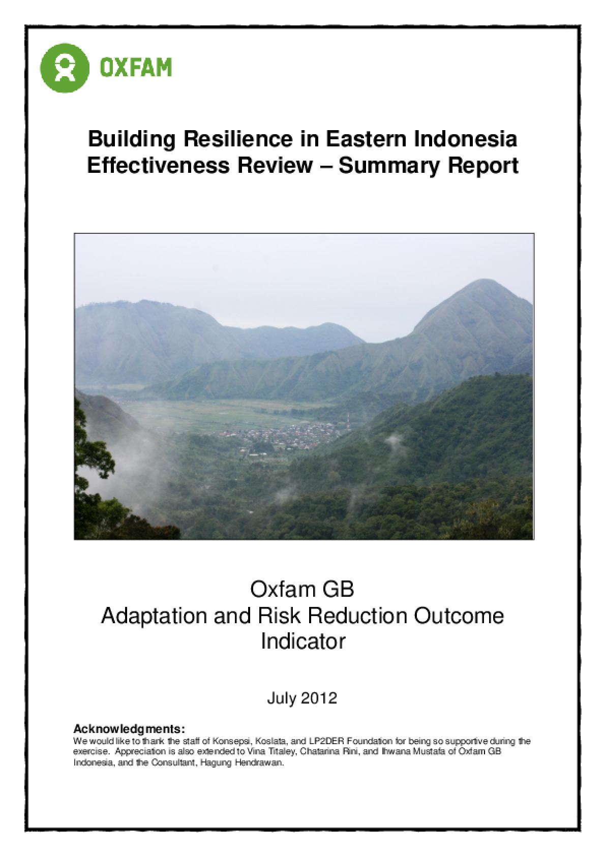Effectiveness Review: Building Resilience: Eastern Indonesia