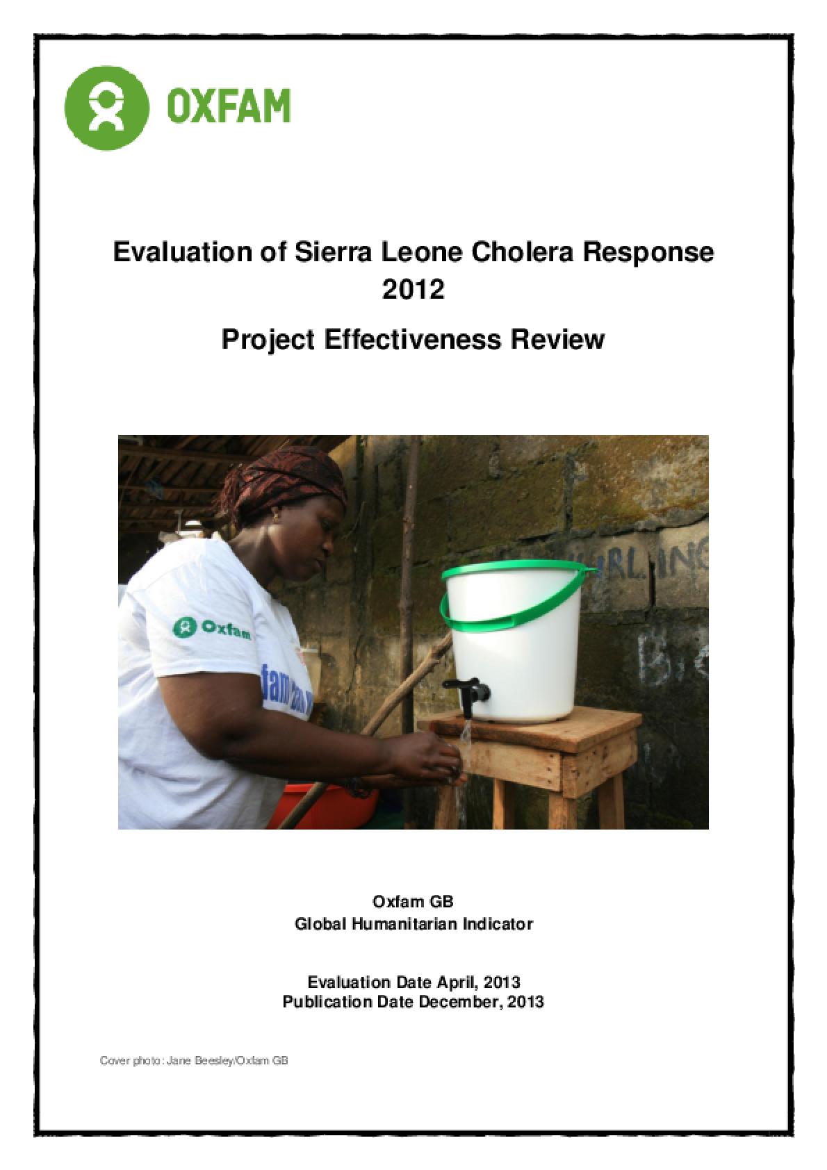 Effectiveness Review: Cholera Response Sierra Leone 2012/13