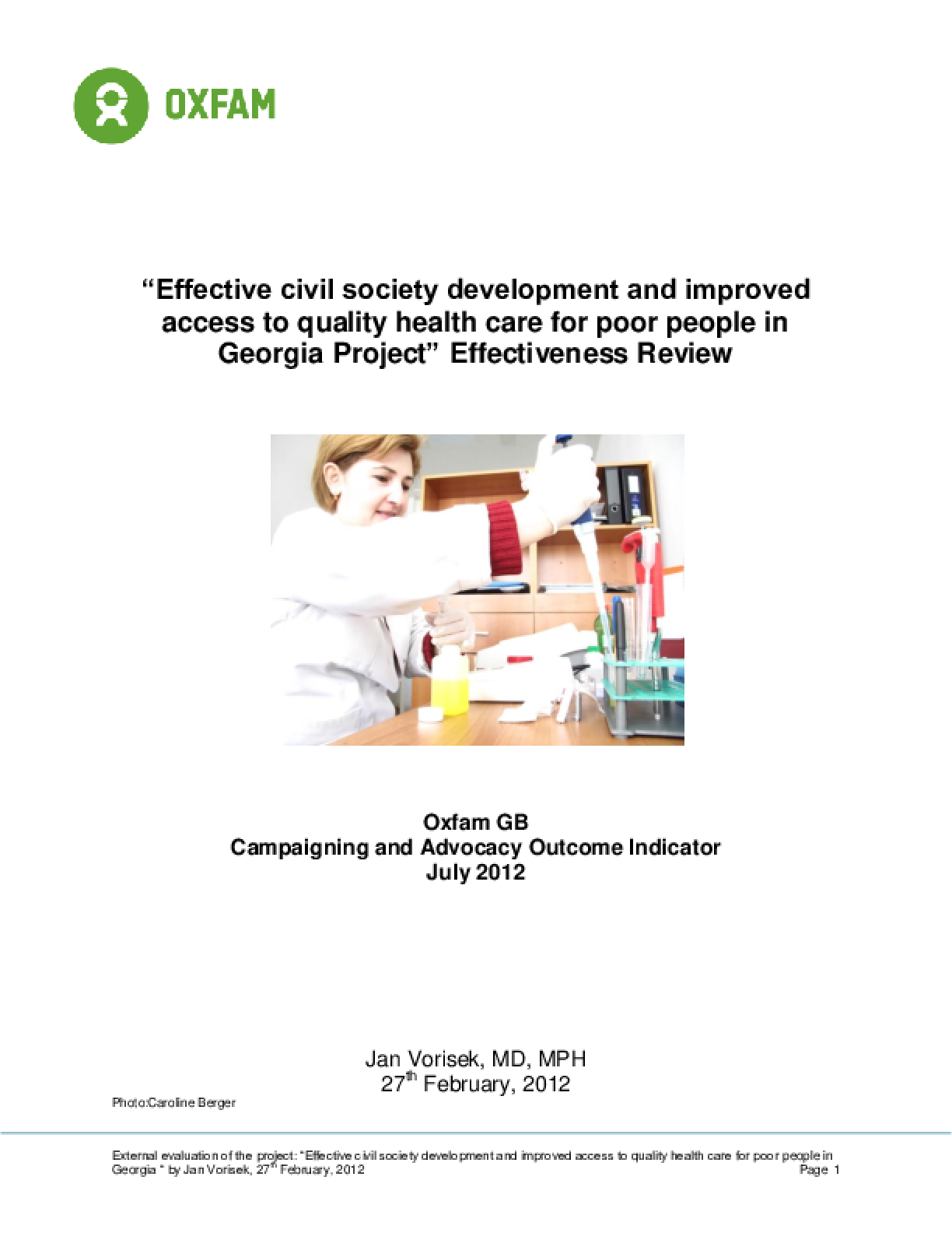 Effectiveness Review: Civil Society Development and Access to Health Care, Georgia
