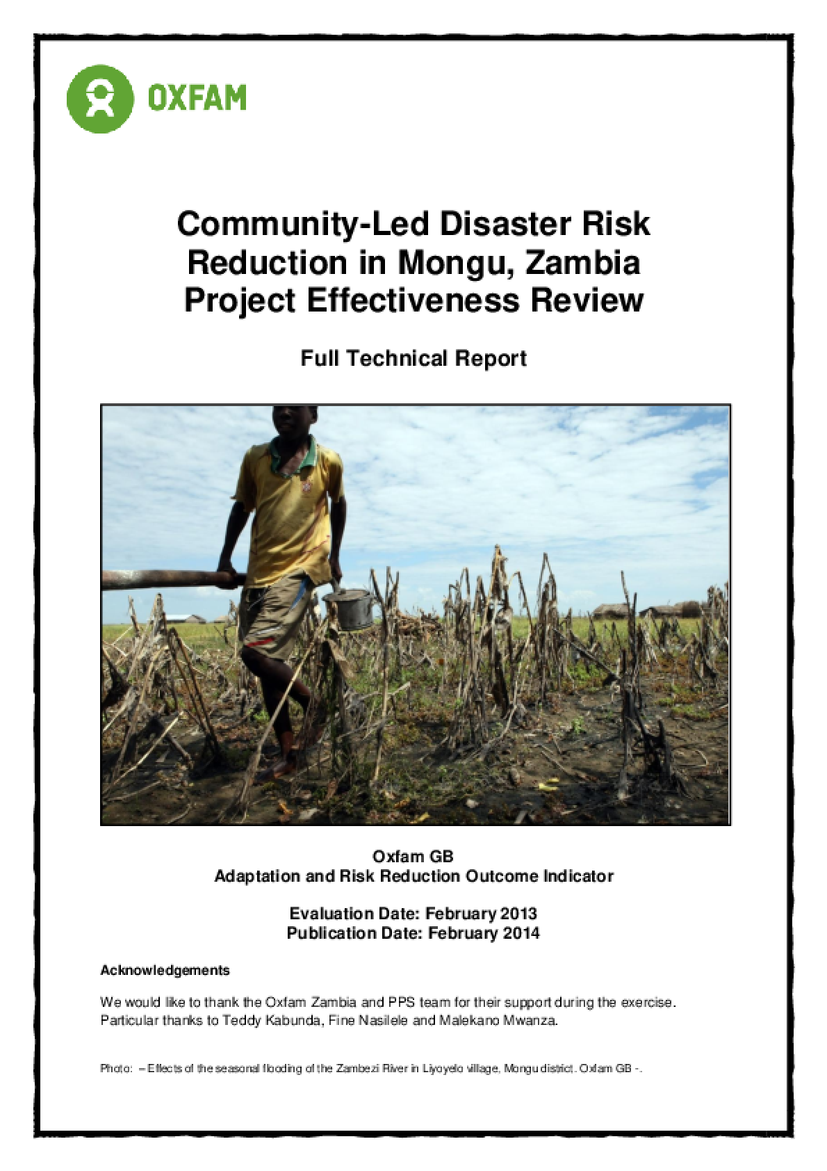 Effectiveness Review: Community-Led Disaster Risk Reduction in Mongu, Zambia