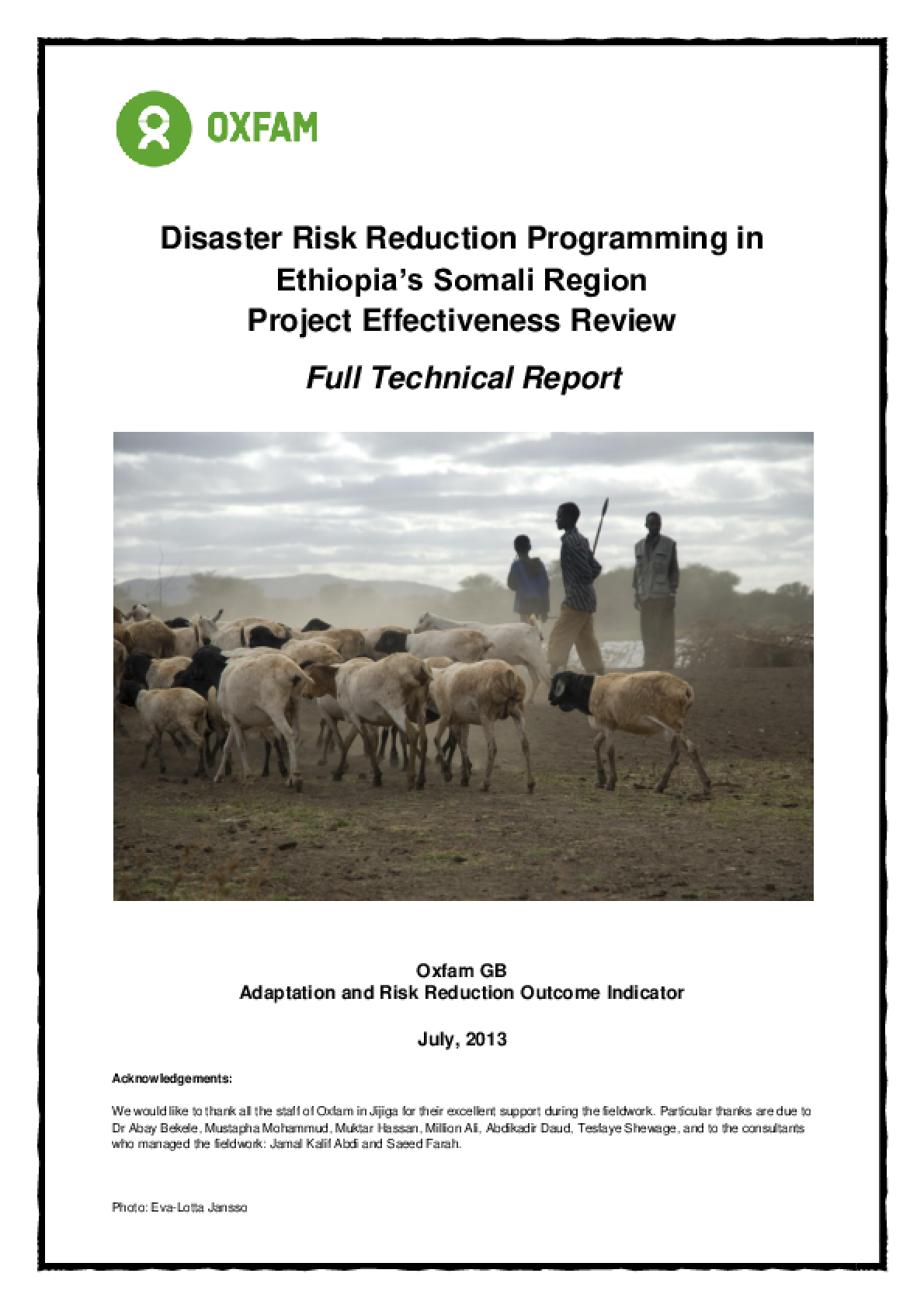Effectiveness Review: Disaster Risk Reduction Programming in Ethiopia's Somali Region