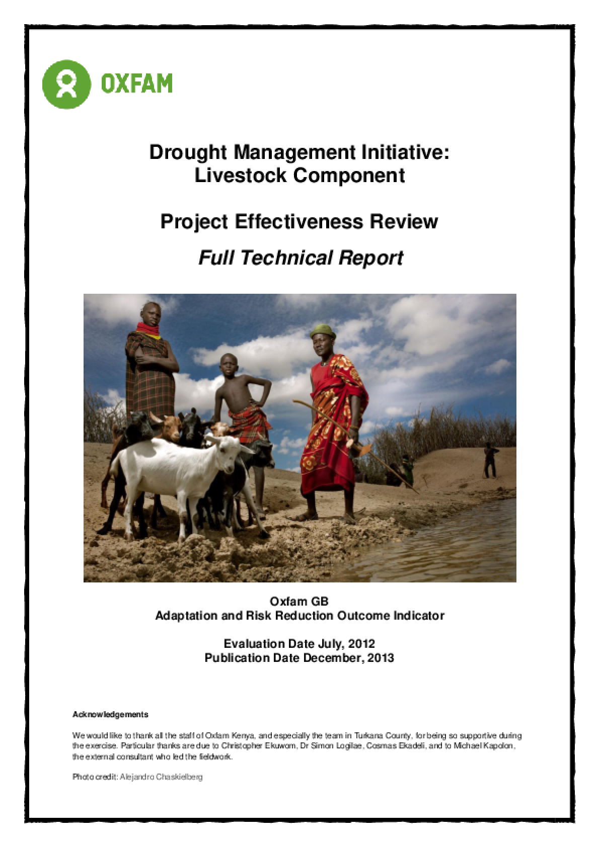 Effectiveness Review: Drought Management Initiative: Livestock Component, Kenya