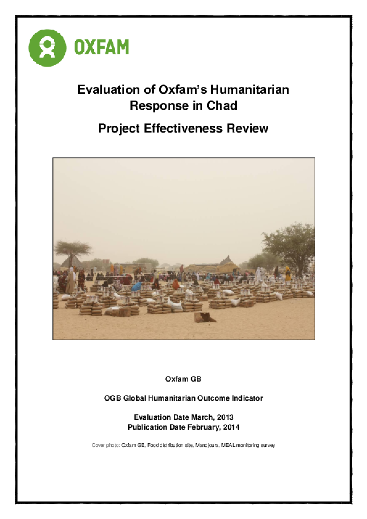 Effectiveness Review: Evaluation of Oxfam's Humanitarian  Response in Chad