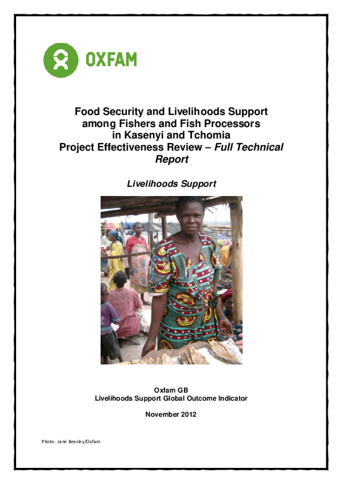 Effectiveness Review: Food Security and Livelihoods Support among Fishers and Fish Processors, Democratic Republic of Congo