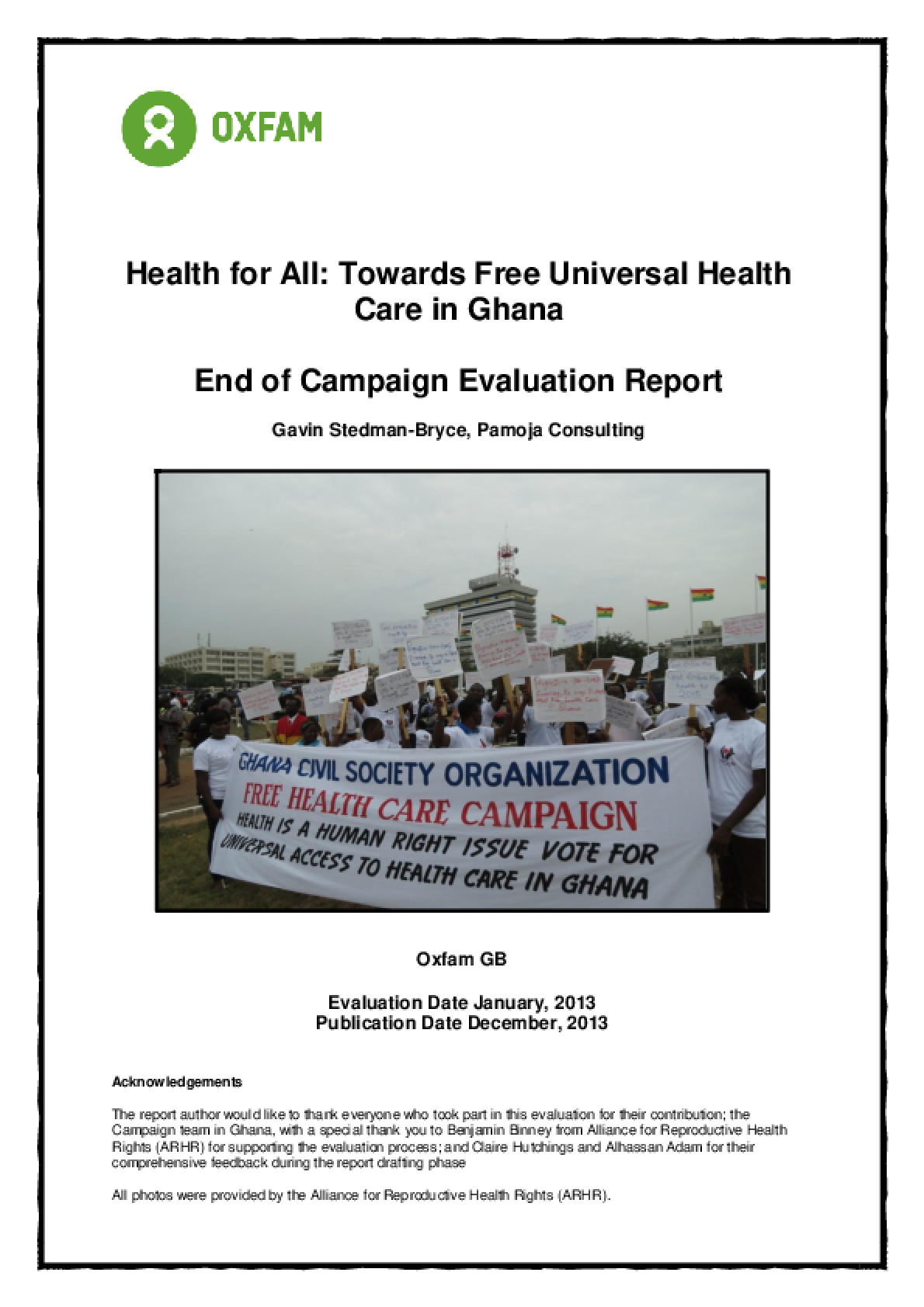 Effectiveness Review: Health for All: Towards Free Universal Health Care in Ghana