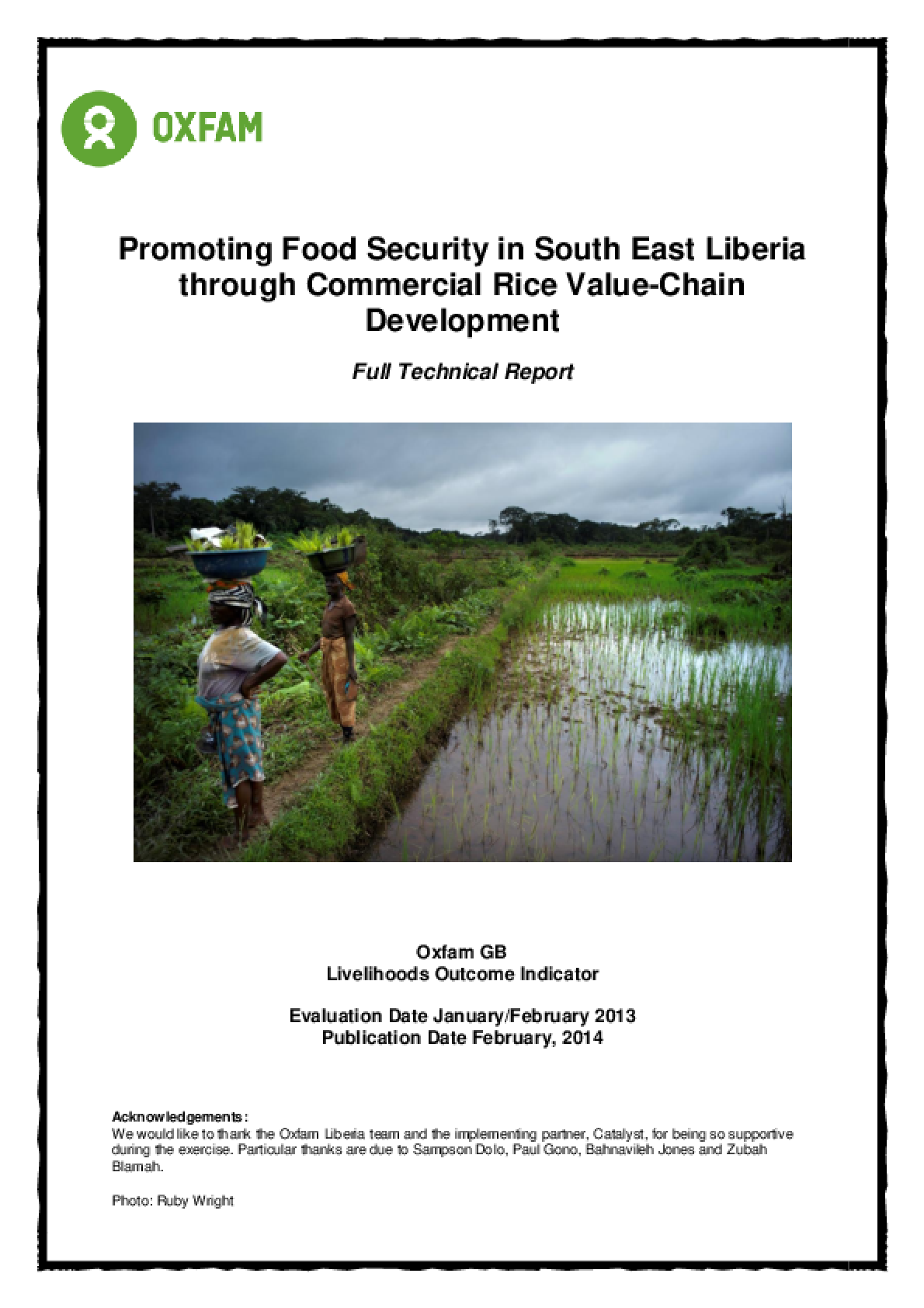 Effectiveness Review: Promoting Food Security in South East Liberia through Commercial Rice Value-Chain Development