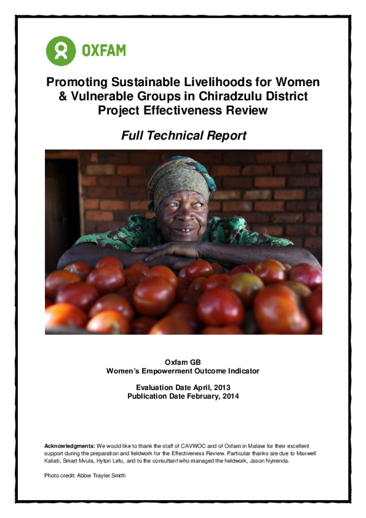 Effectiveness Review: Promoting Sustainable Livelihoods for Women and Vulnerable Groups in Chiradzulu District, Malawi