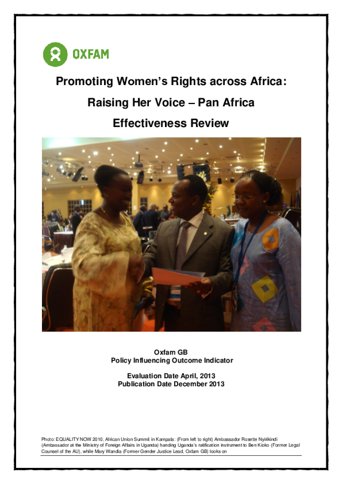 Effectiveness Review: Promoting Women's Rights Across Africa: Raising Her Voice Pan Africa