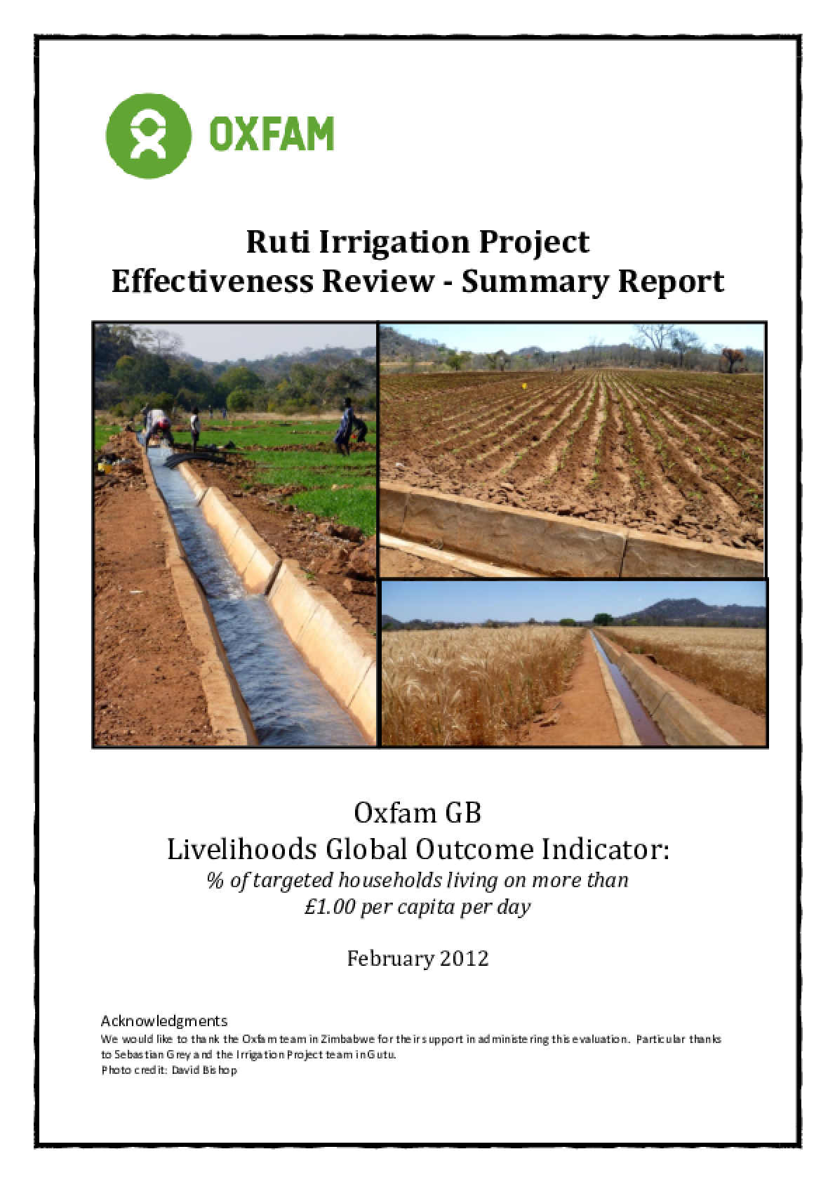 Effectiveness Review: Ruti Irrigation Project, Zimbabwe