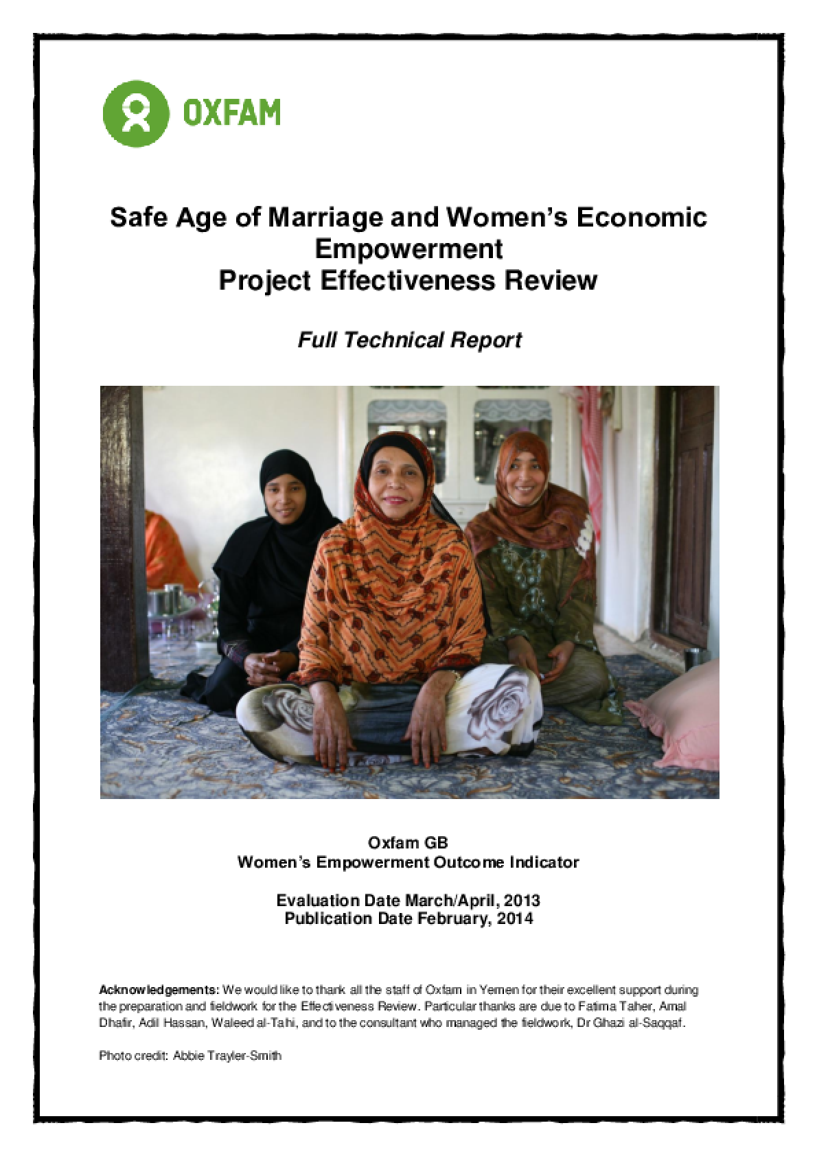 Effectiveness Review: Safe Age of Marriage and Women's Economic Empowerment, Yemen