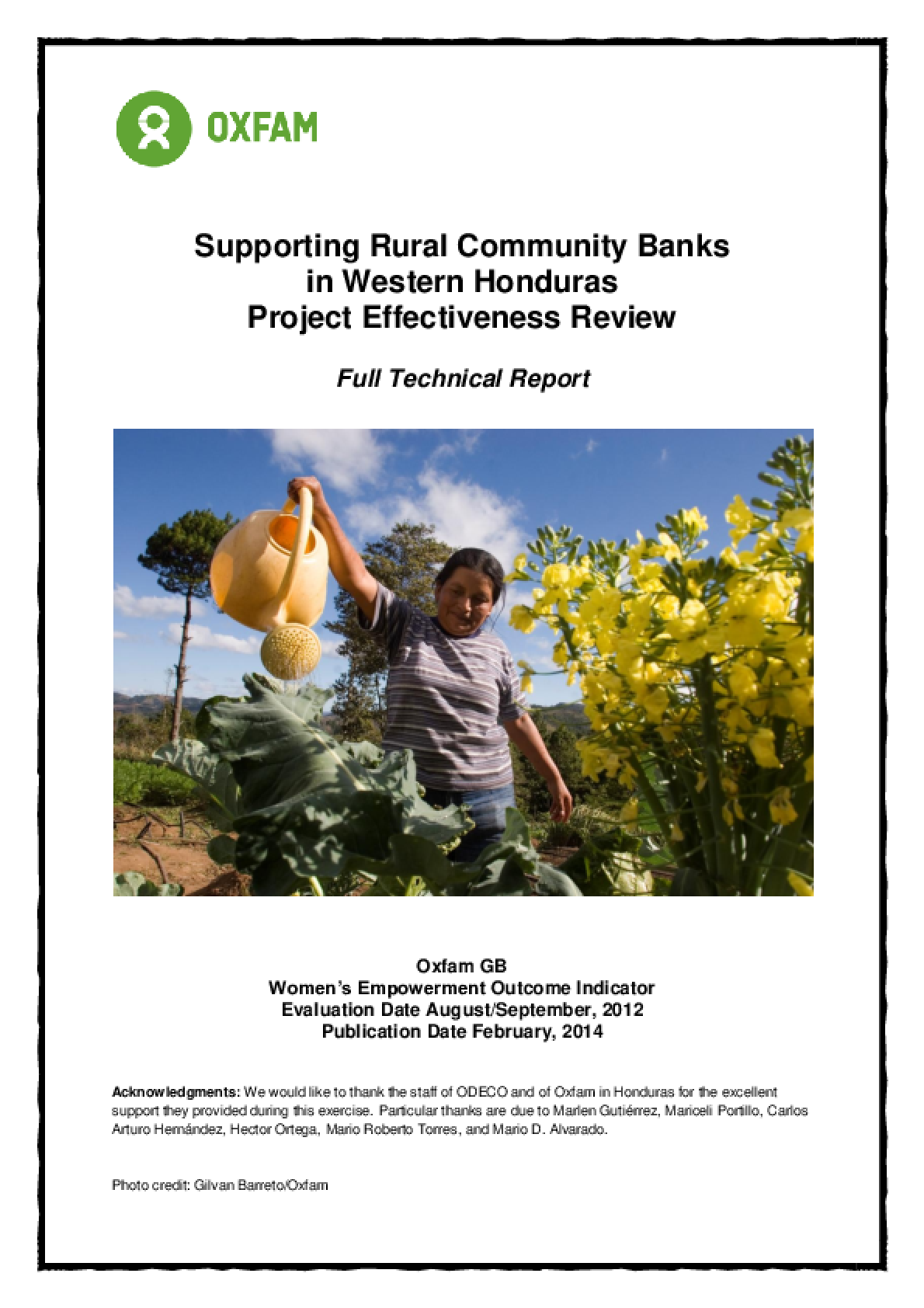 Effectiveness Review: Supporting Rural Community Banks, Honduras
