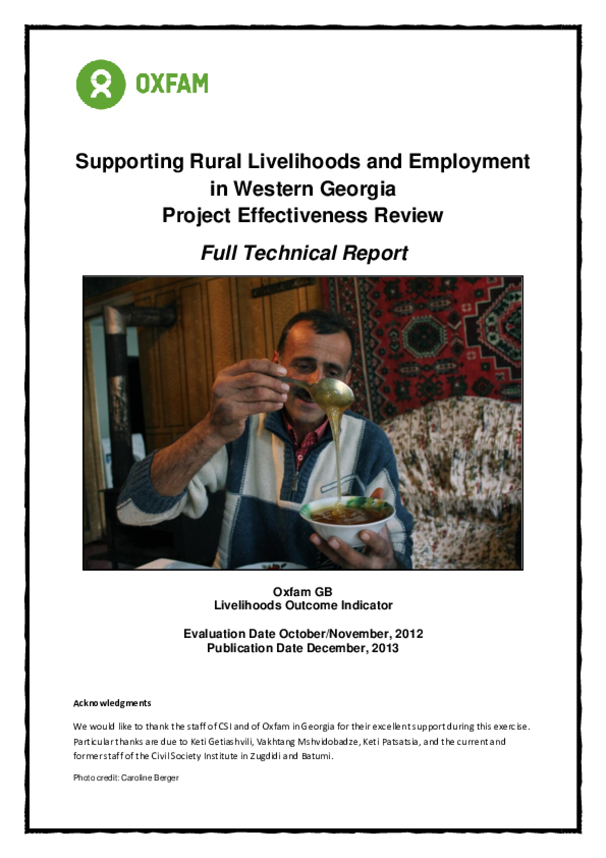 Effectiveness Review: Supporting Rural Livelihoods and Employment in Western Georgia