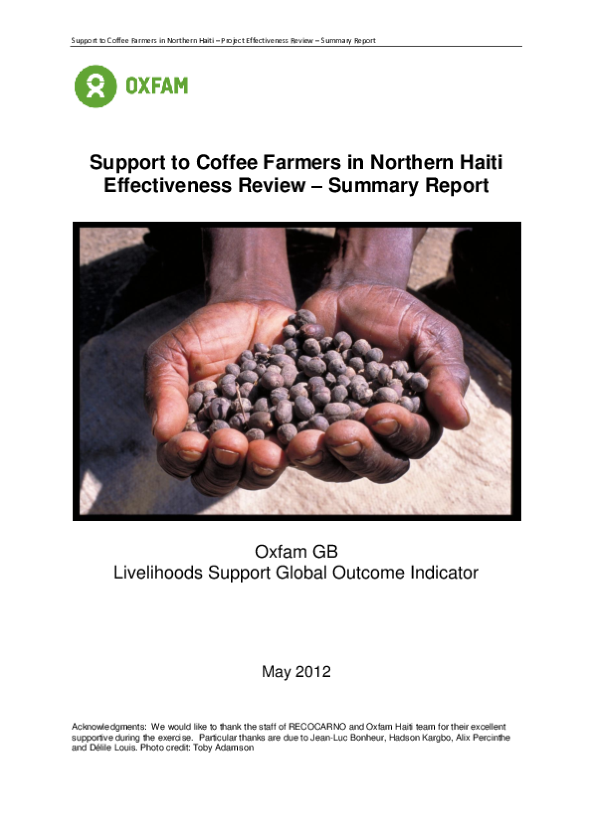 Effectiveness Review: Support to Coffee Farmers, Northern Haiti