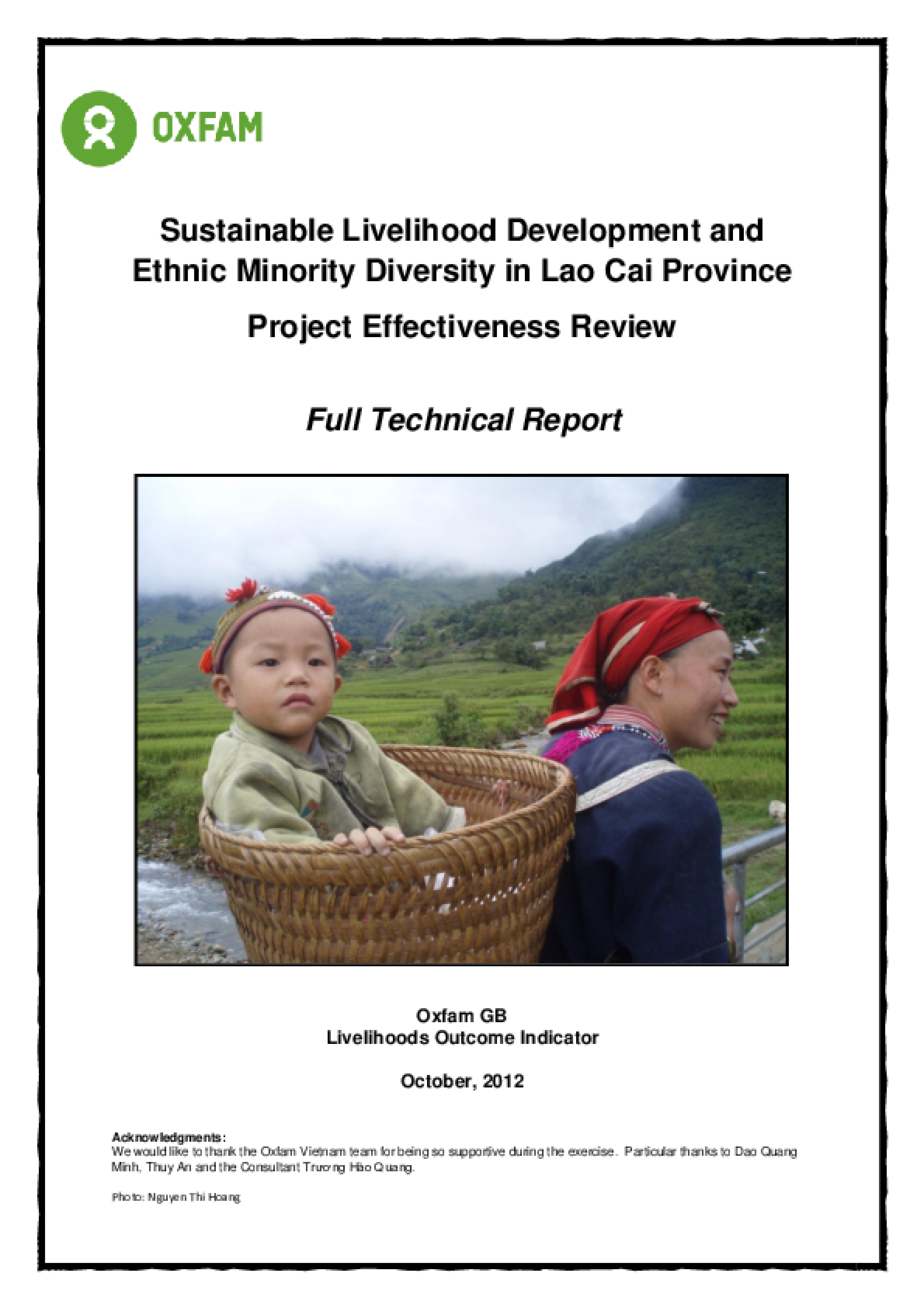Effectiveness Review: Sustainable Livelihood Development and Ethnic Minority Diversity in Lao Cai Province, Viet Nam
