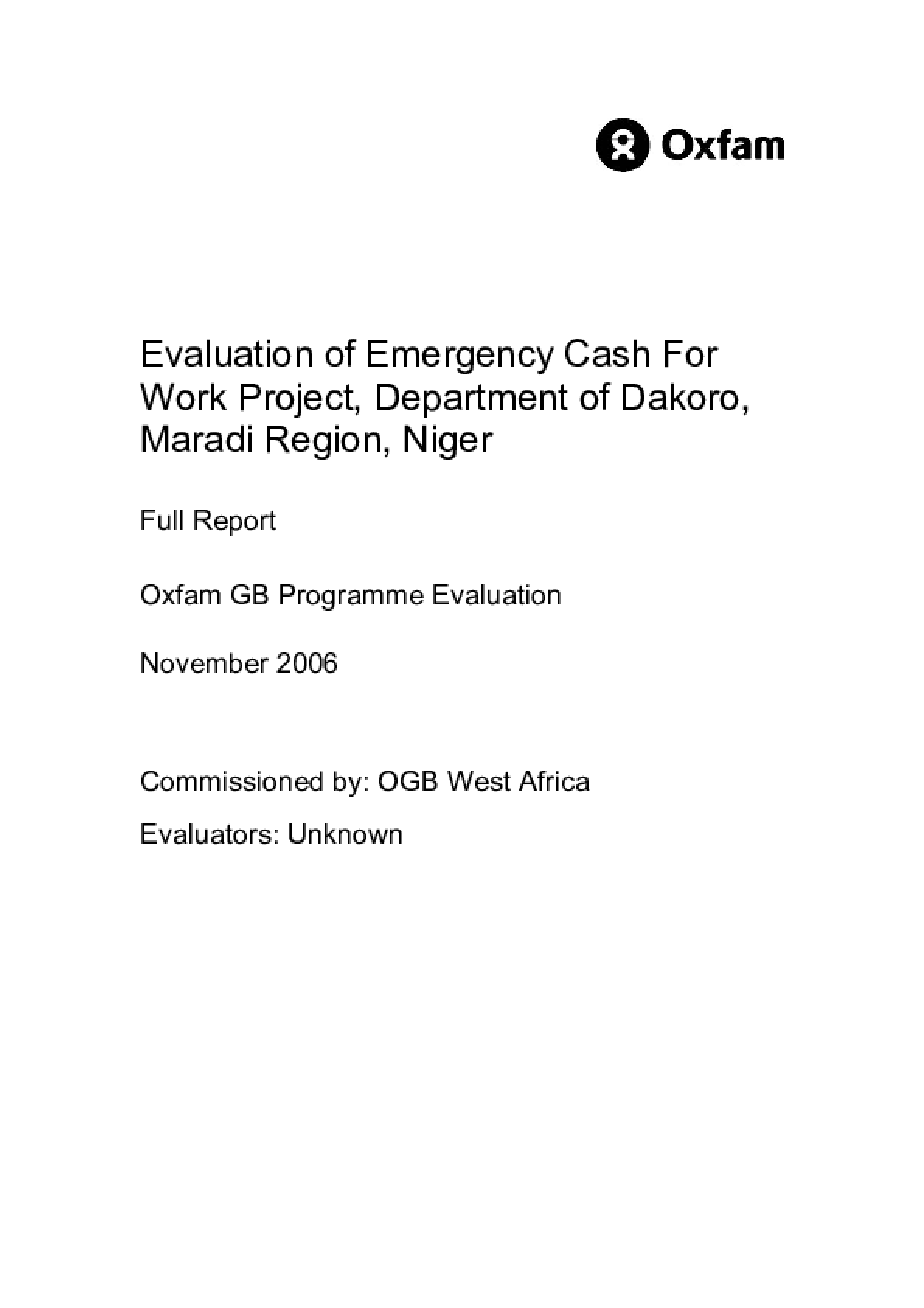 Evaluation of Emergency Cash For Work Project, Department of Dakoro, Maradi Region, Niger