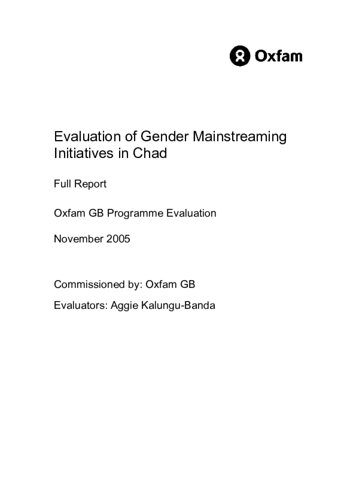 Evaluation of Gender Mainstreaming Initiatives in Chad