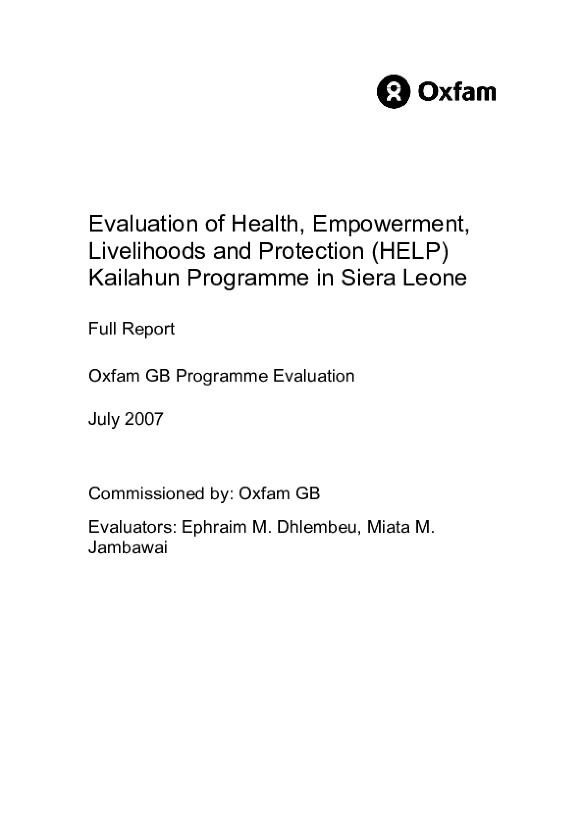 Evaluation of Health, Empowerment, Livelihoods and Protection (HELP) Kailahun Programme in Sierra Leone