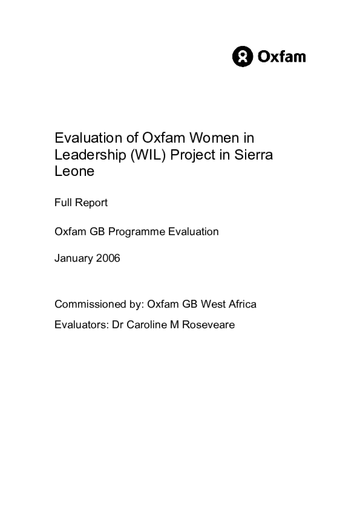 Evaluation of Oxfam Women in Leadership (WIL) Project in Sierra Leone