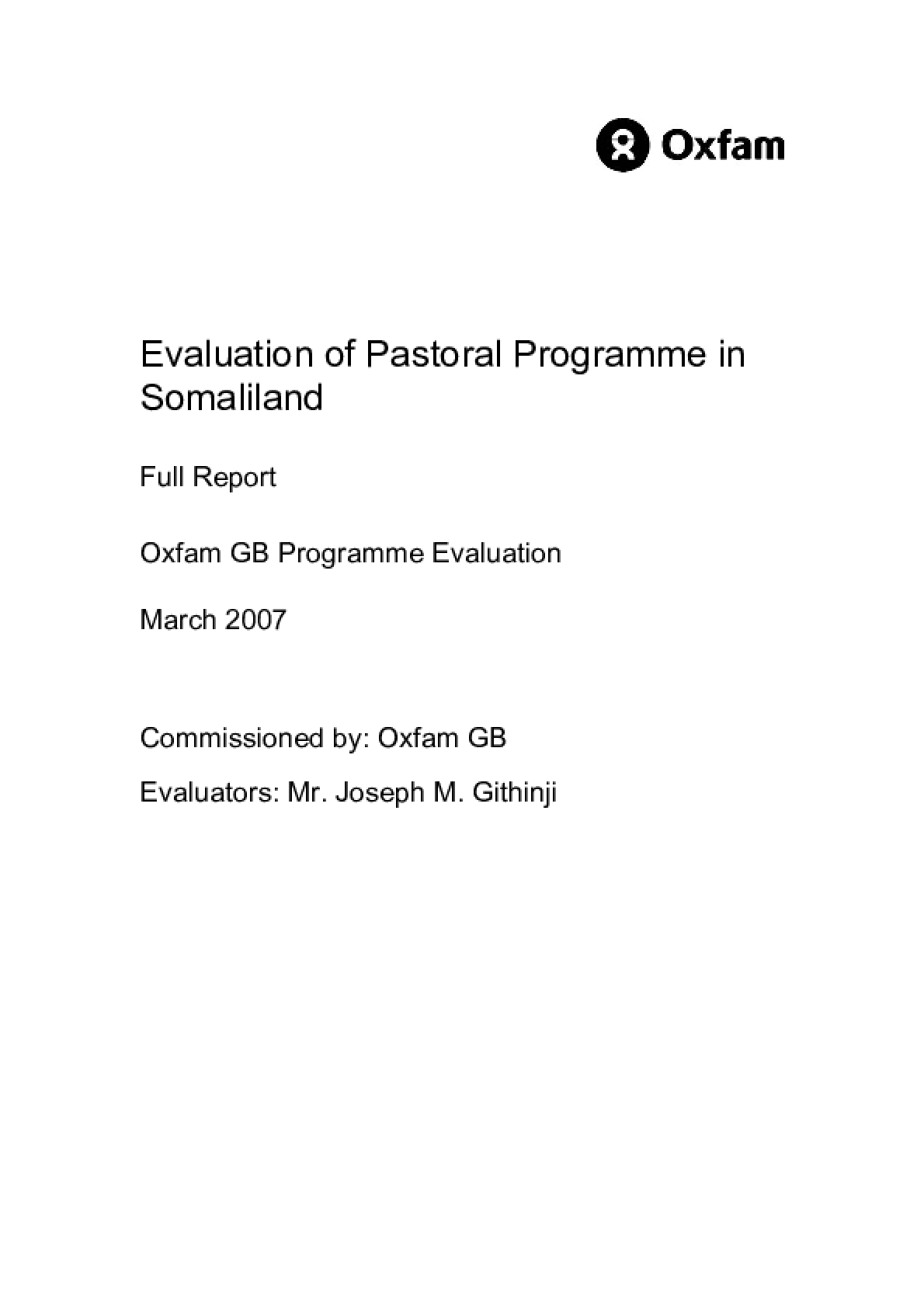 Evaluation of Pastoral Programme in Somaliland