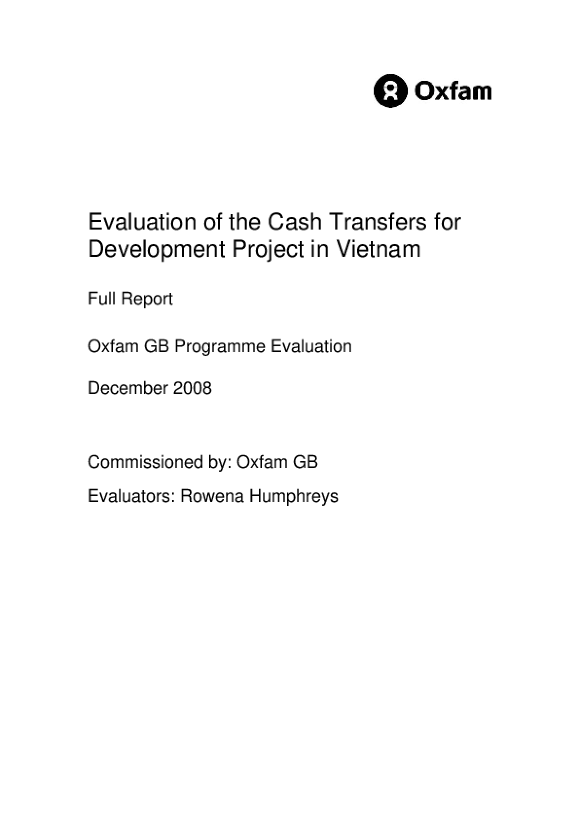 Evaluation of the Cash Transfers for Development Project in Vietnam