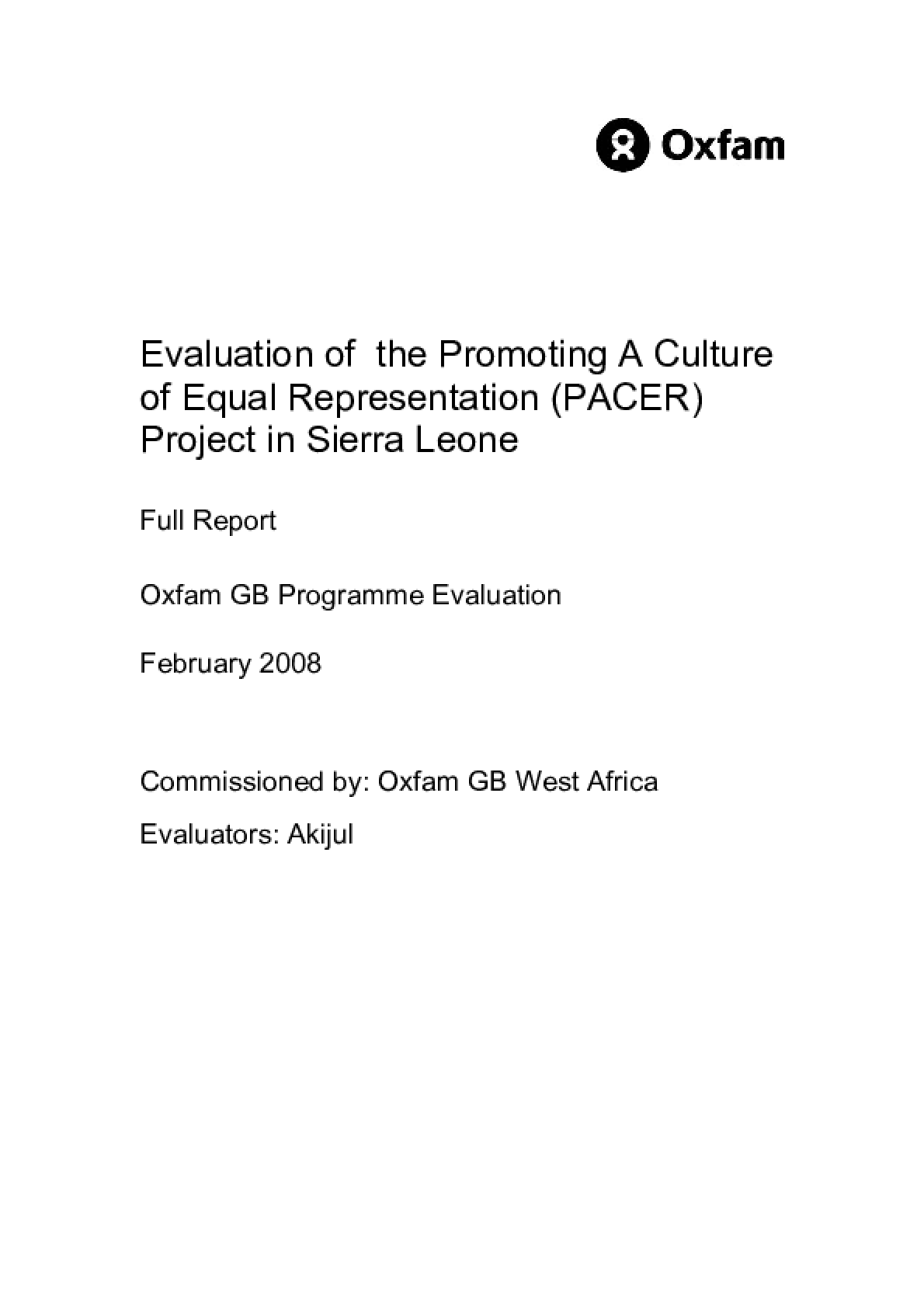 Evaluation of the Promoting A Culture of Equal Representation (PACER) Project in Sierra Leone