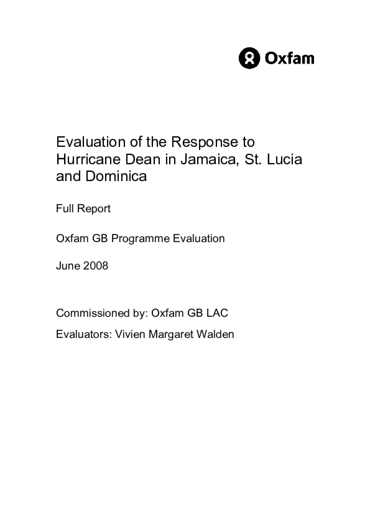 Evaluation of the Response to Hurricane Dean in Jamaica, St. Lucia and Dominica