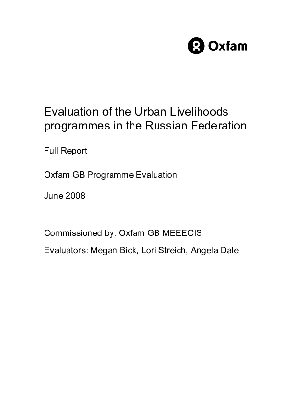 Evaluation of the Urban Livelihoods programmes in the Russian Federation