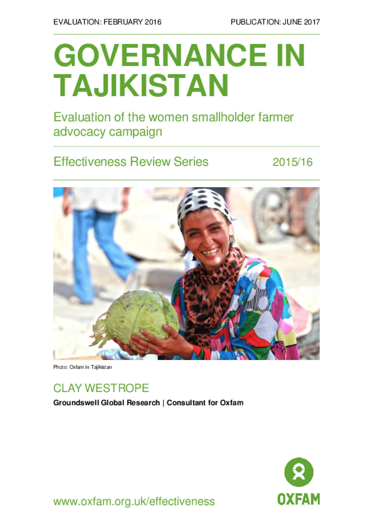 Governance in Tajikistan: Evaluation of the women smallholder farmer advocacy campaign