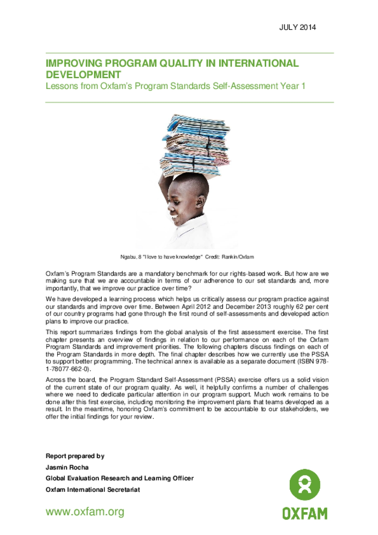 Improving Program Quality in International Development: Lessons from Oxfam's Program Standards Self-Assessment Year 1 main report