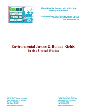 Environmental Justice & Human Rights in the United States