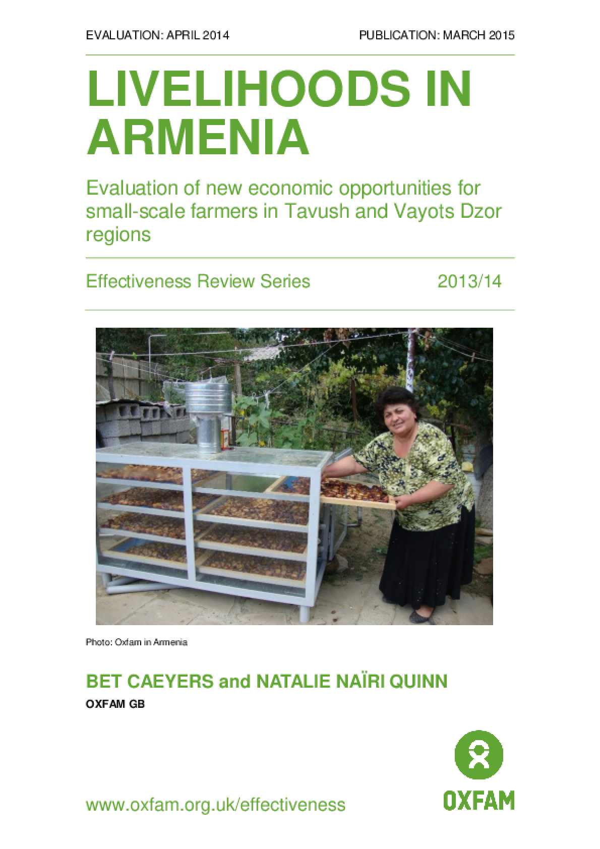 Livelihoods in Armenia: Evaluation of new economic opportunities for small-scale farmers in Tavush and Vayots Dzor regions