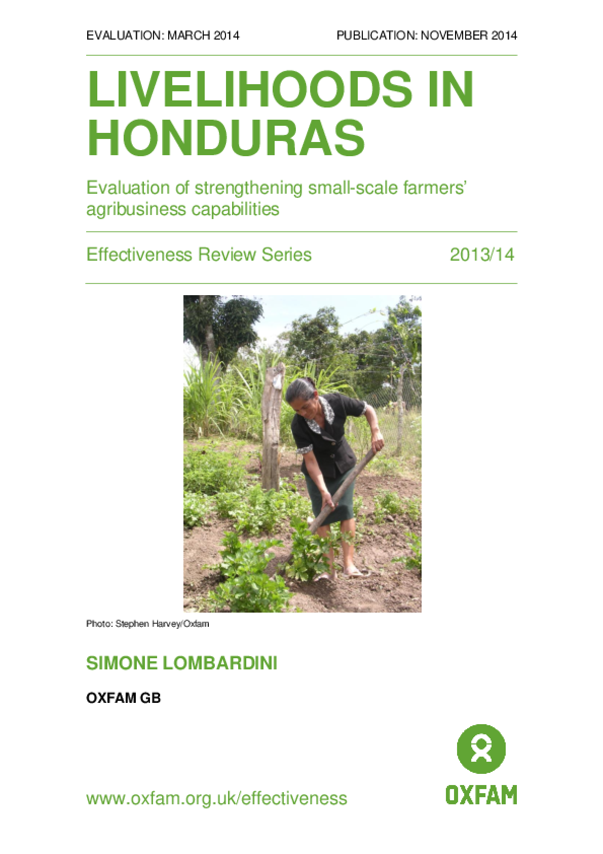 Livelihoods in Honduras: Evaluation of strengthening small-scale farmers' agribusiness capabilities